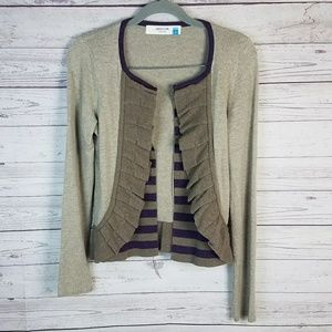 Sparrow Tan Purple Ruffle Cardigan